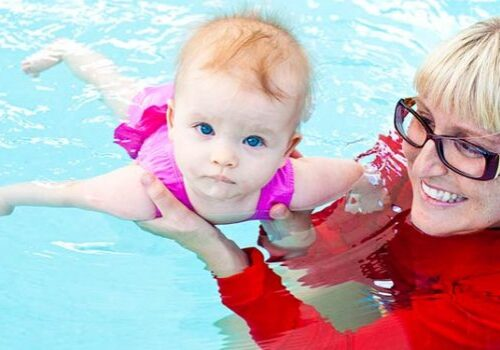 young baby swimmer